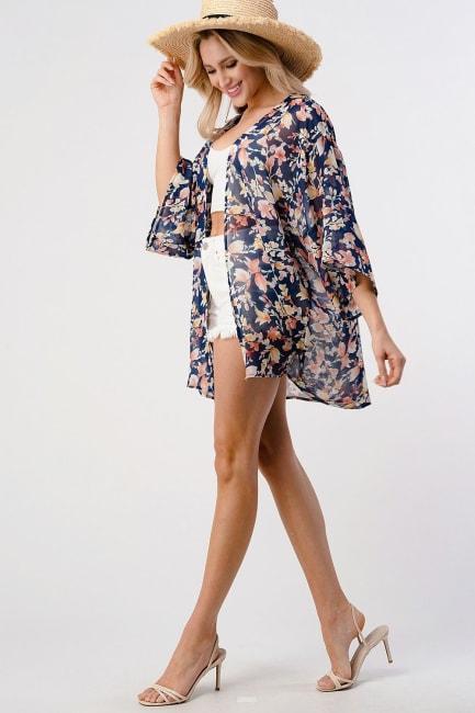 Loose Fit Kimono In Chiffon Duster Cardigan