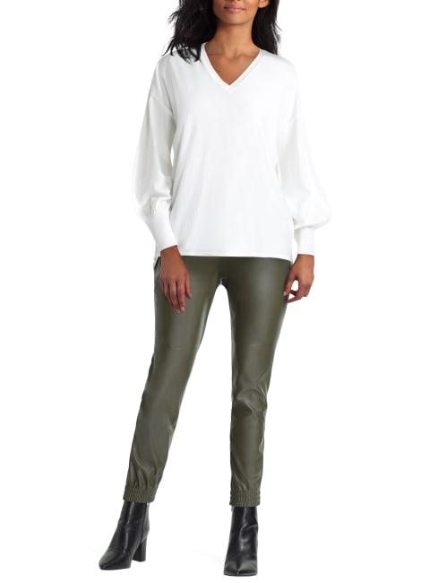 H Halston Long Sleeve V Neck Mix Media Sweater