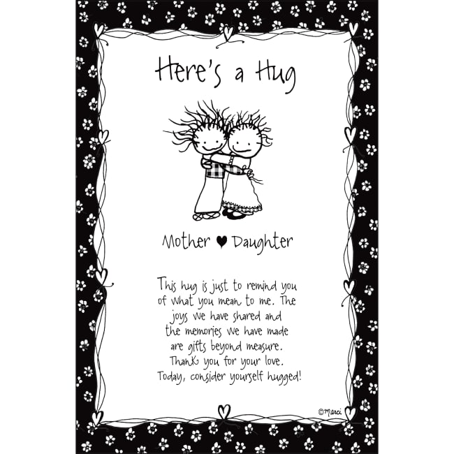 Here's A Hug-Mother/Daughter Children Of The Inner Light 6X9 Wood Plaque - Marci Art