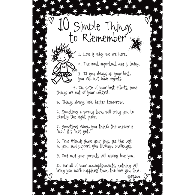 10 Simple Things To Remember Children Of The Inner Light 6X9 Wood Plaque - Marci Art