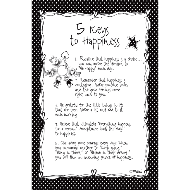 5 Keys To Happiness Children Of The Inner Light 6X9 Wood Plaque - Marci Art