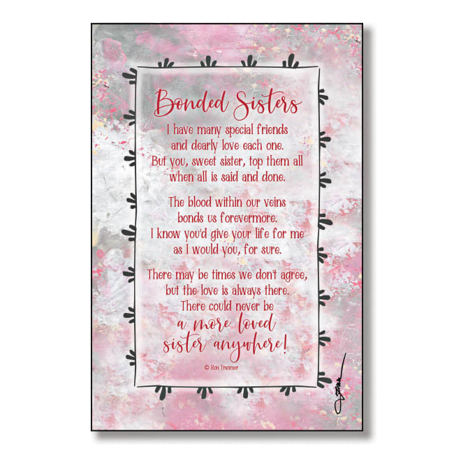 Bonded Sisters Wood Plaque With Easel And Hanger 6 Inches X 9 Inches