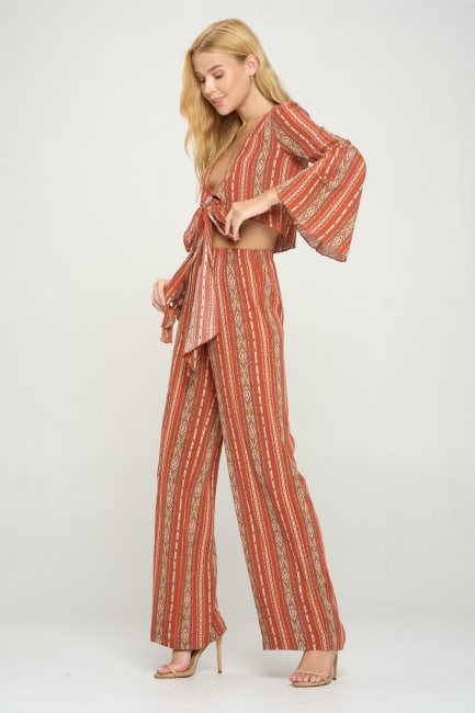 Bell Sleeves Cop Cardigan And Palazzo Pants Set