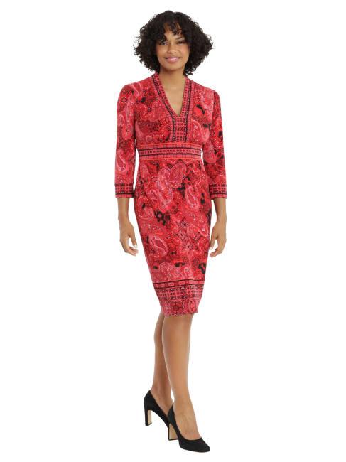 Paisley Print Sheath Dress