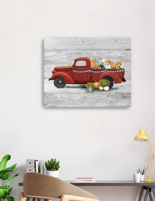 Harvest Red Truck Canvas Giclee