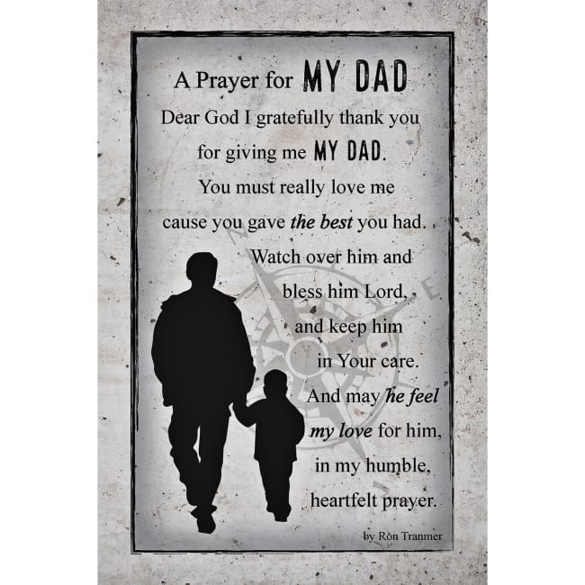 Prayer For My Dad Wood Plaque With Easel And Hanger 6 Inches X 9 Inches