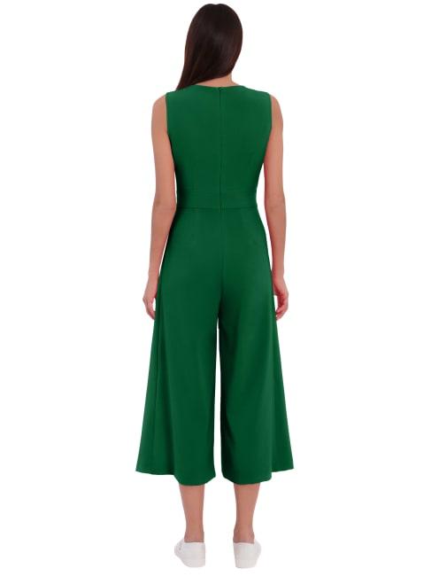 London Times Lisa Jewel Neck Wrap Jumpsuit
