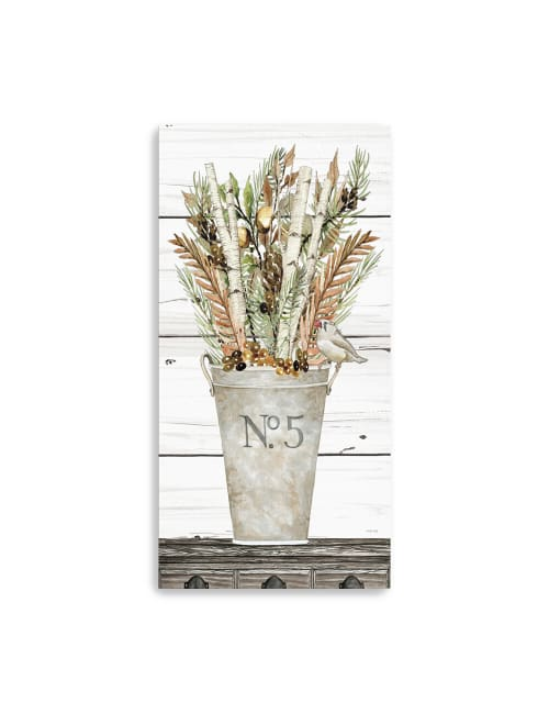 No. 5 Birch and Fall Flowers II Canvas Giclee