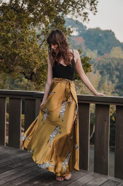 Sukiso Women's Multicolored Zebra Satin Maxi Wrap Skirt