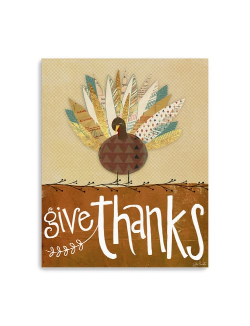 Give Thanks Turkey Canvas Giclee