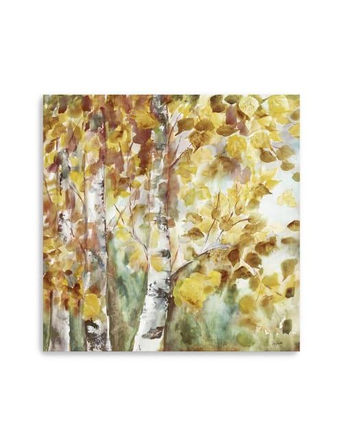 Watercolor Fall Aspens Square Canvas Giclee