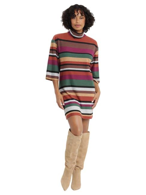 Extended  Shoulder Turtleneck Dress