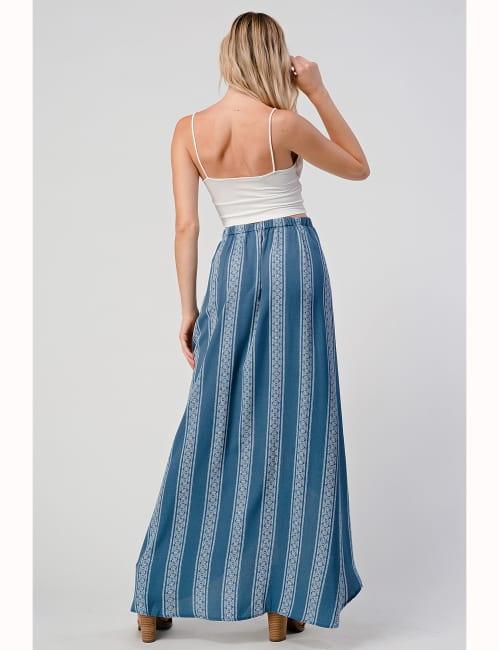 Faux Wrap Boho Stripe Maxi Dress Skirt