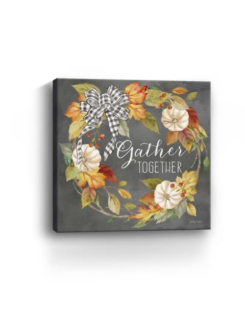 Pumpkin Patch Wreath on Black I Gather Canvas Giclee