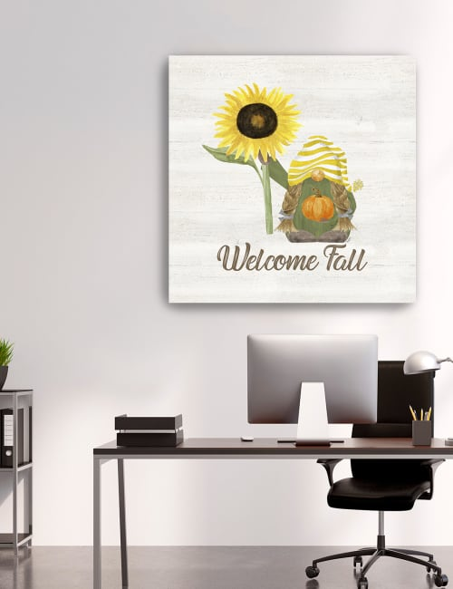 Fall Gnomes Sentiment III Welcome Fall Canvas Giclee