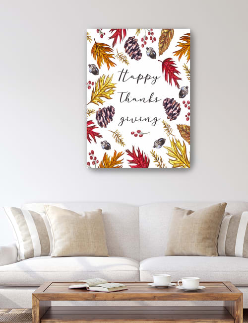 Happy Thanksgiving Card Canvas Giclee