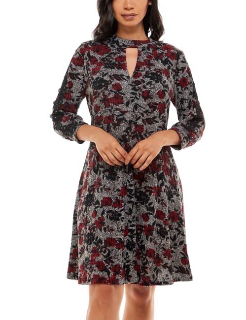 Adrienne Vittadini 3/4 Sleeve Mock Neck Dress