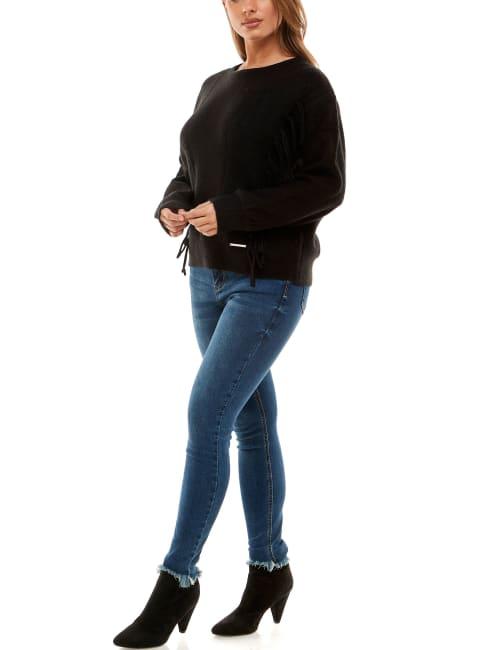 Adrienne Vittadini Long Sleeve With Fringe Sweater