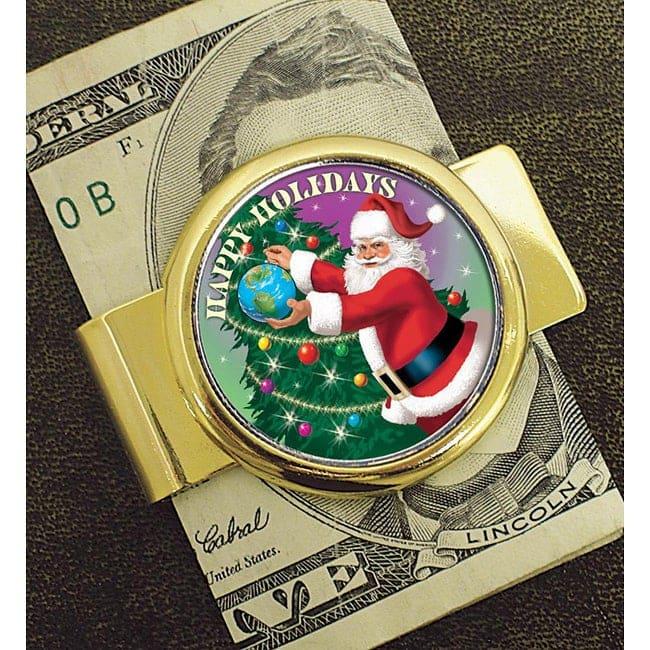 Gold Tone Coin Money Clip With Colorized Jfk Half Dollar Santa Coin