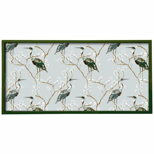 Chinoiserie Heron 10 x 20 Art Tray