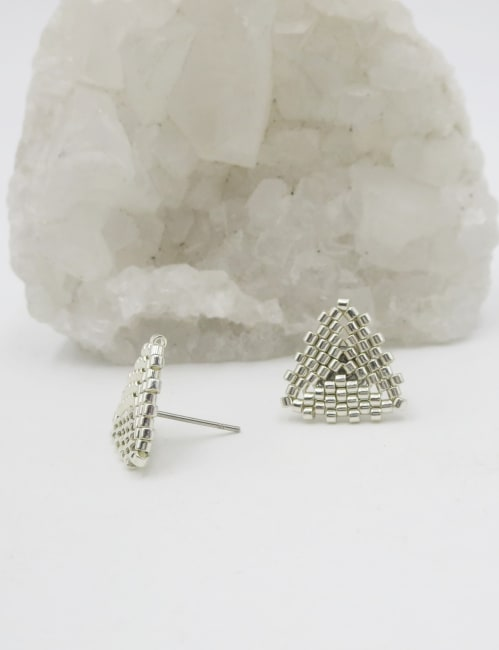 Jewels For Hope Handsewn Silver Beaded Stud Earrings