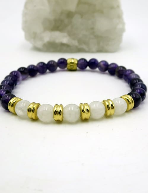 Jewels For Hope Amethyst and Moonstone Stretch Bracelet