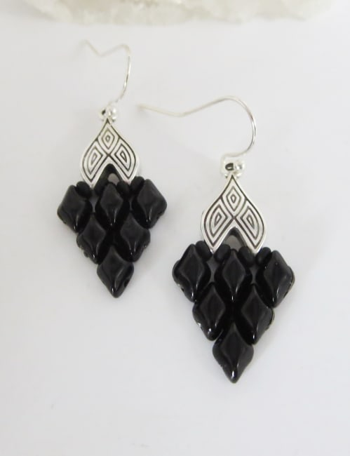 Jewels For Hope Black and Silver Woven Earrings