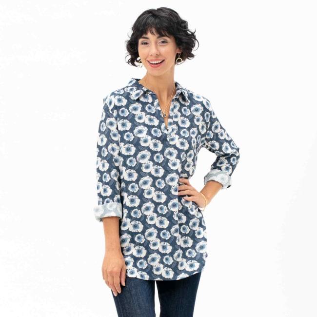Poppy Blue Devon Poet Shirt