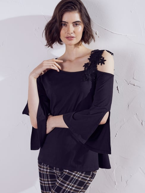 Wonder Blossom One Shoulder Lace Strap Night Out Top
