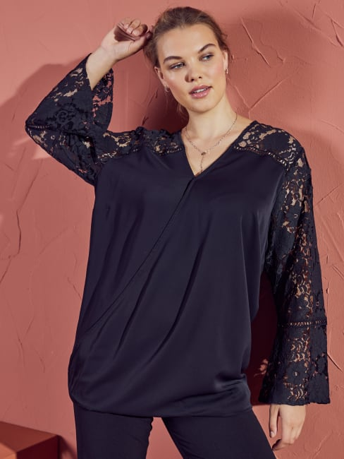 Wonder Blossom Night Out Lace Mix Wrap Front Night Out Top- Plus