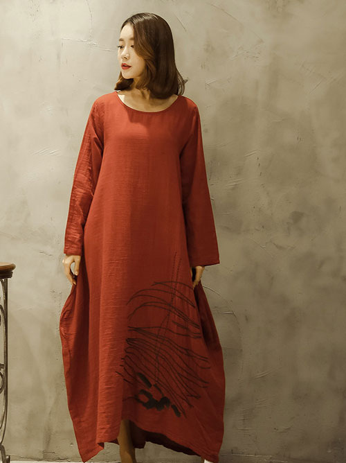 льняное платье А-силуэта с вышивкой