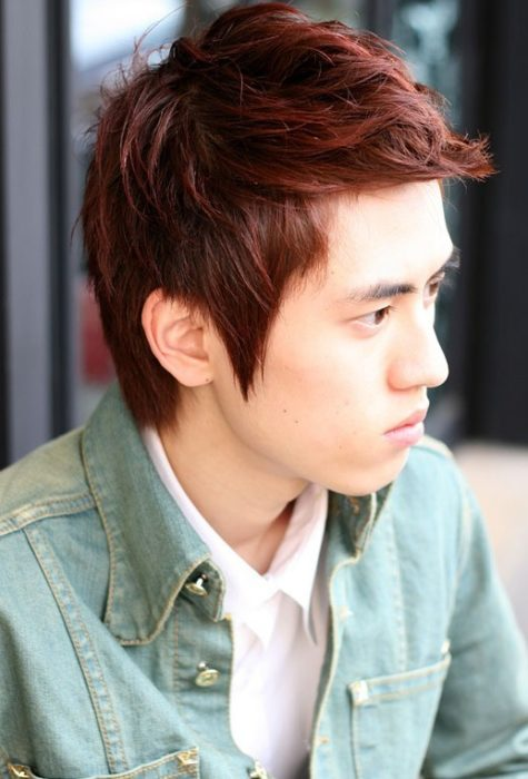 Colored Trendy Korean Hairstyle for Boys