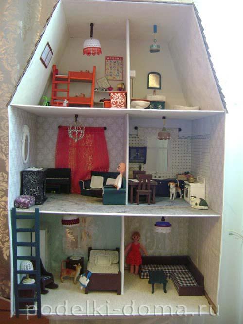 Как сделать из картона дом для кукол