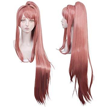 Long pink ponytail wig