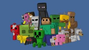 Превью обои minecraft, герои, игра, пиксели, java