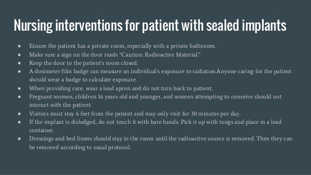 Sealed radiation therapy implant precautions