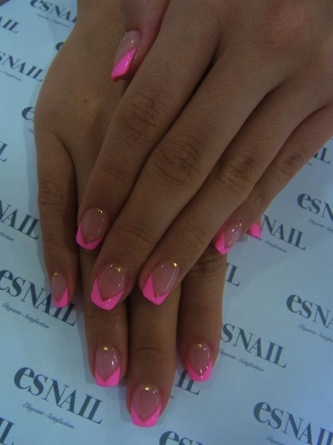 Hot pink french nails