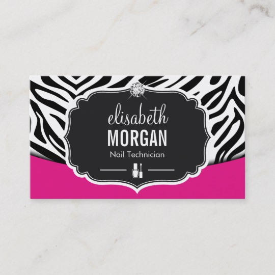 Pink zebra print business cards