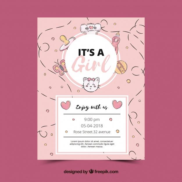 Free pink invitation templates