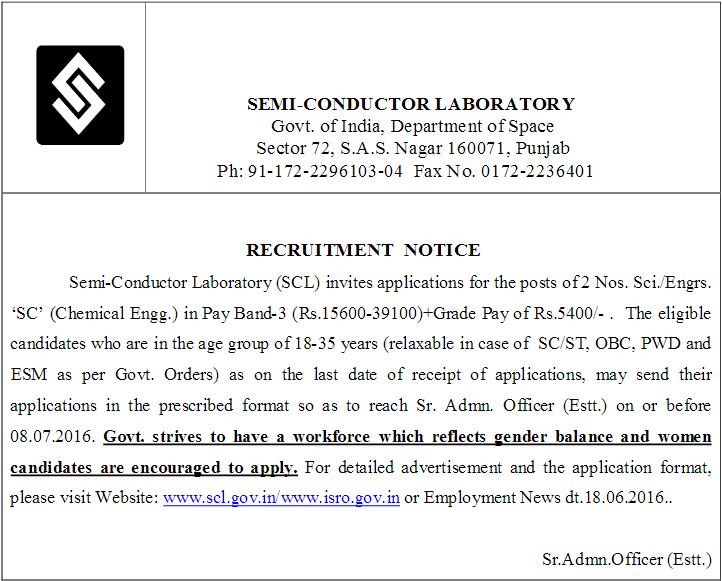 SCL NON GATE Chemical Recruitment 2016