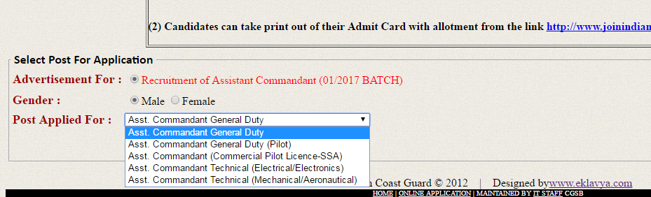 Indian Coast Guard Assistant Commandant Engineers 2016