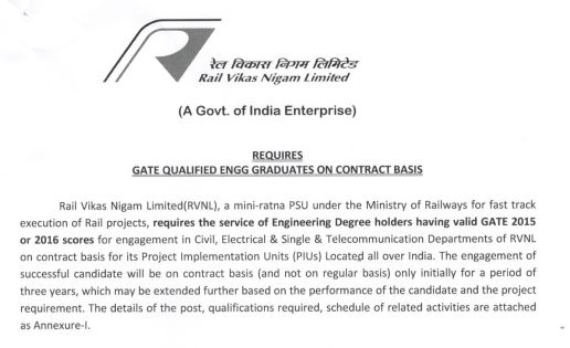 RVNL SITE ENGINEER GATE CONTRACTUAL ENGAGEMENT