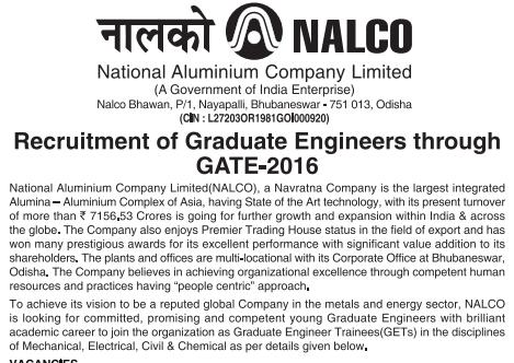NALCO GATE 2016 Recruitment of Engineers
