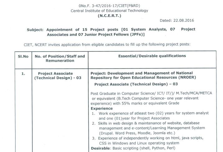 CIET Recruitment Project Associate, System Analyst & JPF