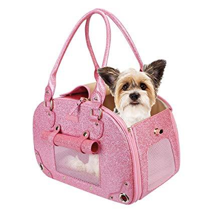 Pink pet carrier purse