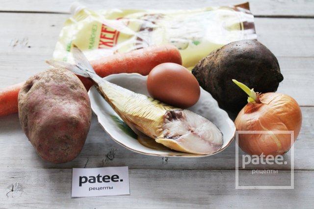 Салат с копченой скумбрией под шубой
