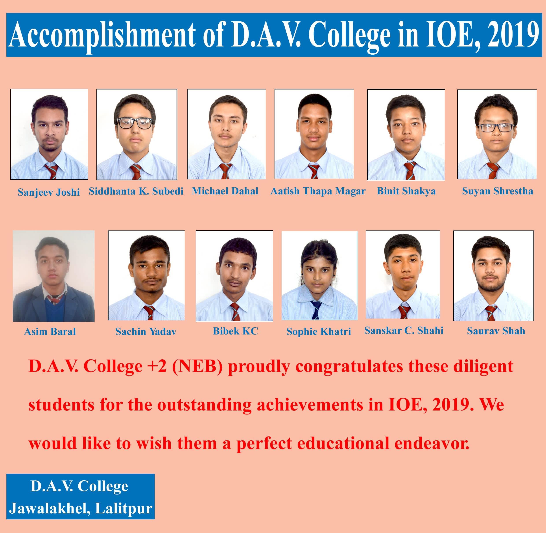 Accomplishment of D.A.V. in IOE, 2019