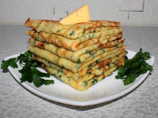 Рецепт сырные блинчики с петрушкой