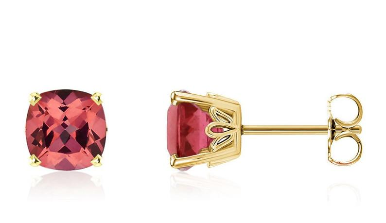 Pink tourmaline earrings yellow gold