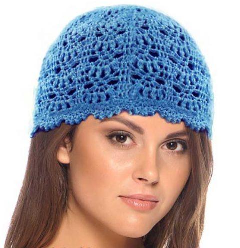 Ажурная шапочка весенняя, голубая